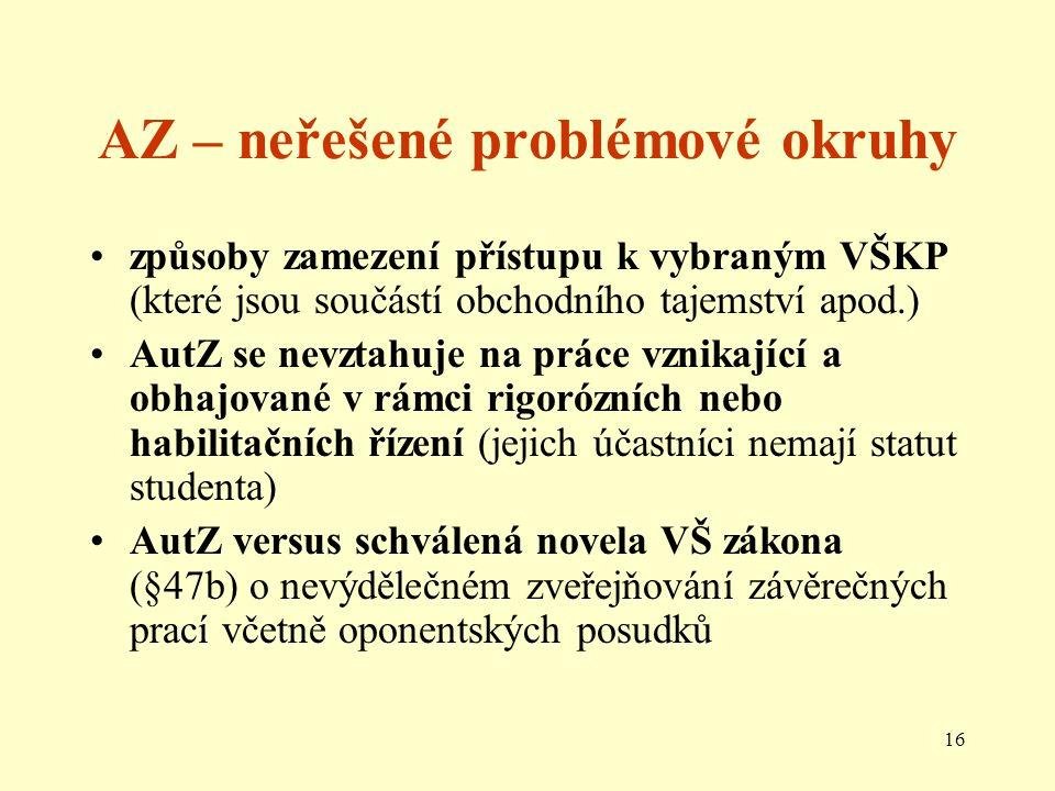 16 AZ – neřešené problémové okruhy způsoby zamezení přístupu k vybraným VŠKP (které jsou součástí obchodního tajemství apod.) AutZ se nevztahuje na práce vznikající a obhajované v rámci rigorózních nebo habilitačních řízení (jejich účastníci nemají statut studenta) AutZ versus schválená novela VŠ zákona (§47b) o nevýdělečném zveřejňování závěrečných prací včetně oponentských posudků