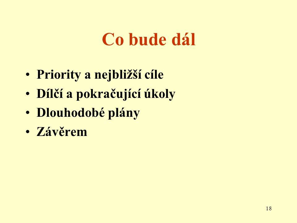 18 Co bude dál Priority a nejbližší cíle Dílčí a pokračující úkoly Dlouhodobé plány Závěrem