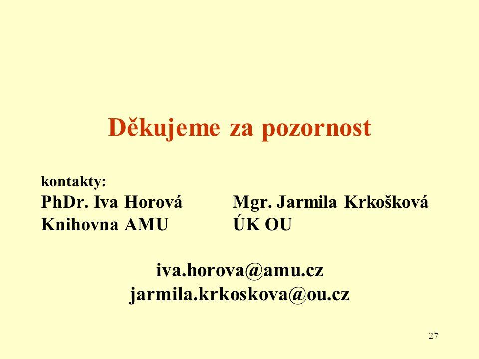 27 Děkujeme za pozornost kontakty: PhDr. Iva Horová Mgr.