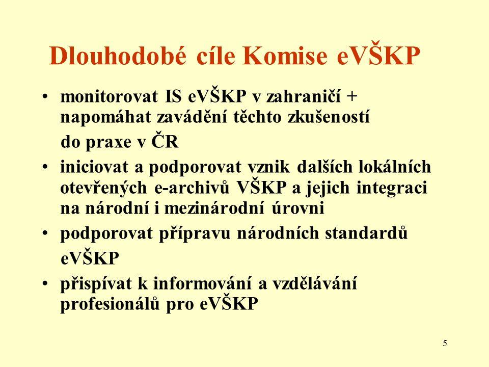 5 Dlouhodobé cíle Komise eVŠKP monitorovat IS eVŠKP v zahraničí + napomáhat zavádění těchto zkušeností do praxe v ČR iniciovat a podporovat vznik dalších lokálních otevřených e-archivů VŠKP a jejich integraci na národní i mezinárodní úrovni podporovat přípravu národních standardů eVŠKP přispívat k informování a vzdělávání profesionálů pro eVŠKP