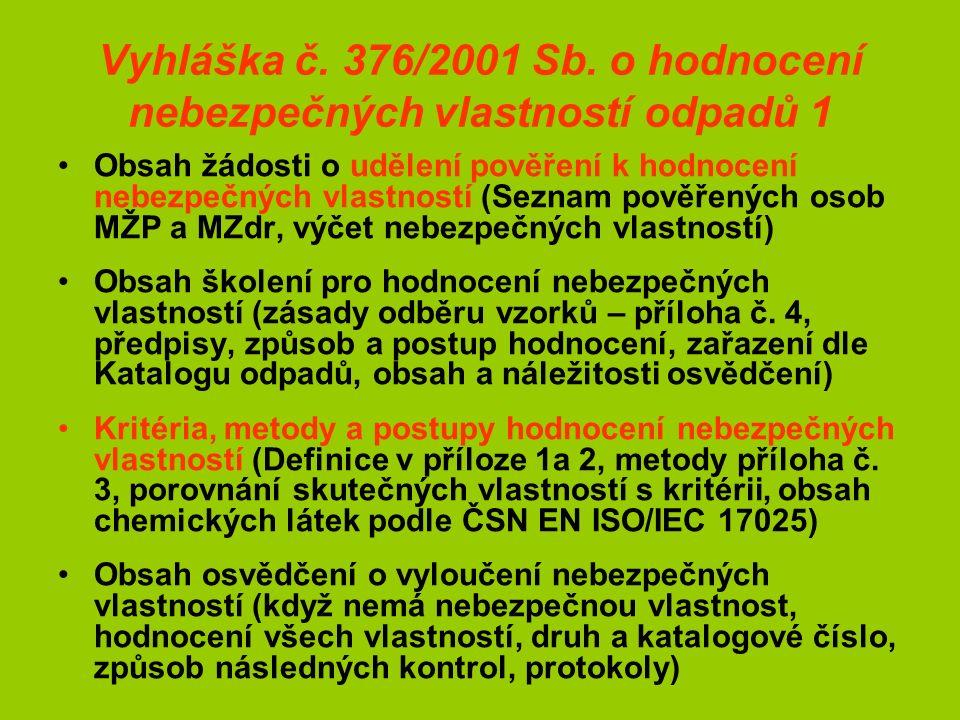Vyhláška č. 376/2001 Sb.