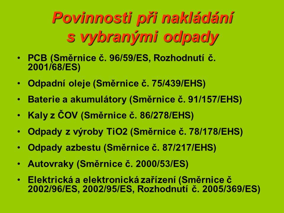 Povinnosti při nakládání s vybranými odpady PCB (Směrnice č.