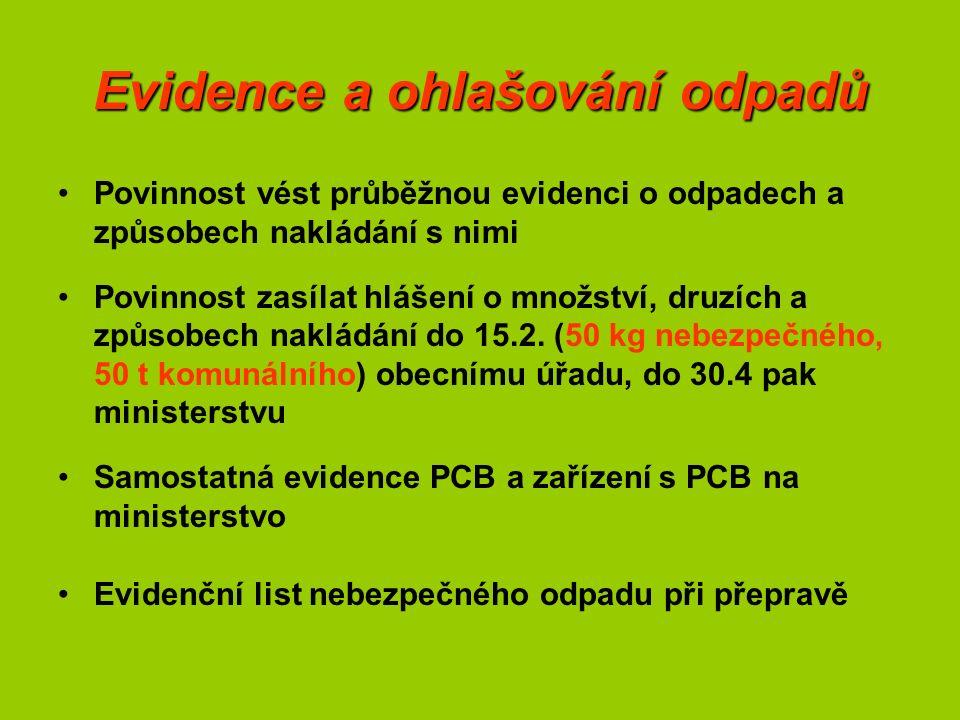Evidence a ohlašování odpadů Povinnost vést průběžnou evidenci o odpadech a způsobech nakládání s nimi Povinnost zasílat hlášení o množství, druzích a způsobech nakládání do 15.2.