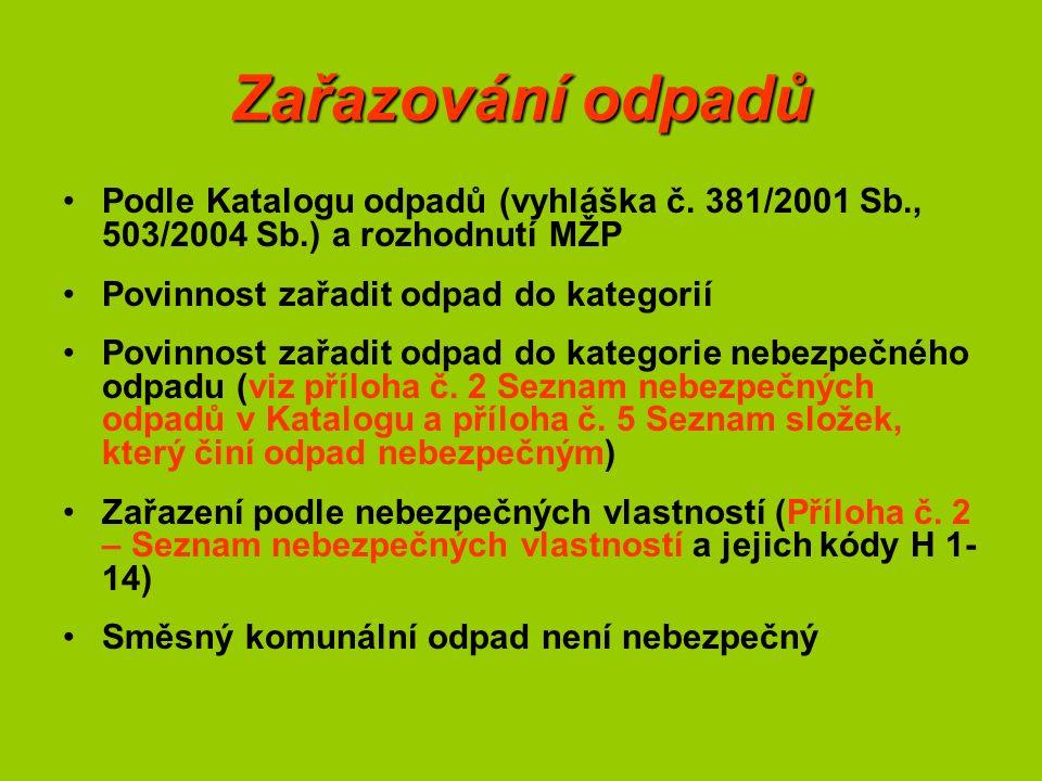 Zařazování odpadů Podle Katalogu odpadů (vyhláška č.