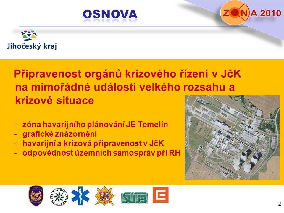 Připravenost orgánů krizového řízení v JčK na mimořádné události velkého rozsahu a krizové situace -zóna havarijního plánování JE Temelín -grafické zn