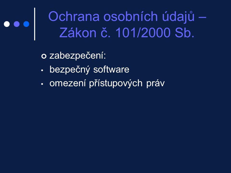 Ochrana osobních údajů – Zákon č. 101/2000 Sb.