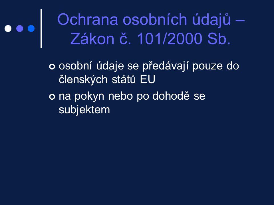 Ochrana osobních údajů – Zákon č.101/2000 Sb.