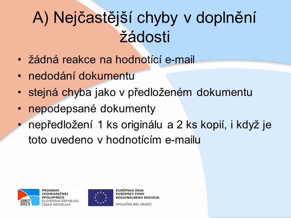 A) Nejčastější chyby v doplnění žádosti žádná reakce na hodnotící e-mail nedodání dokumentu stejná chyba jako v předloženém dokumentu nepodepsané doku