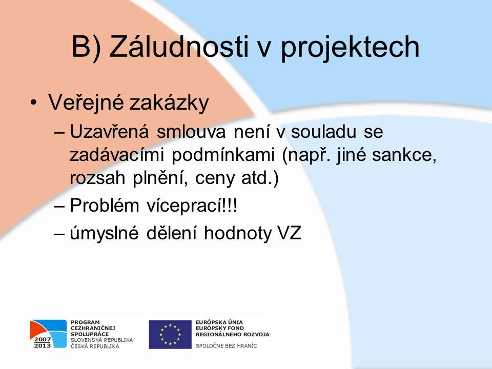 B) Záludnosti v projektech Veřejné zakázky –Uzavřená smlouva není v souladu se zadávacími podmínkami (např. jiné sankce, rozsah plnění, ceny atd.) –Pr