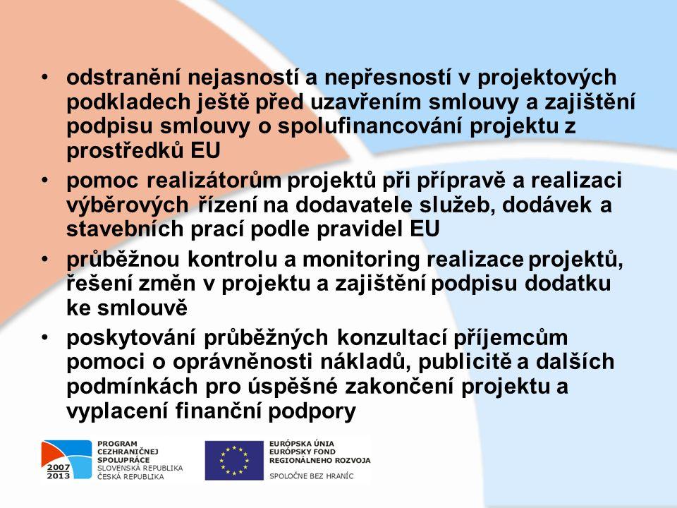 odstranění nejasností a nepřesností v projektových podkladech ještě před uzavřením smlouvy a zajištění podpisu smlouvy o spolufinancování projektu z p
