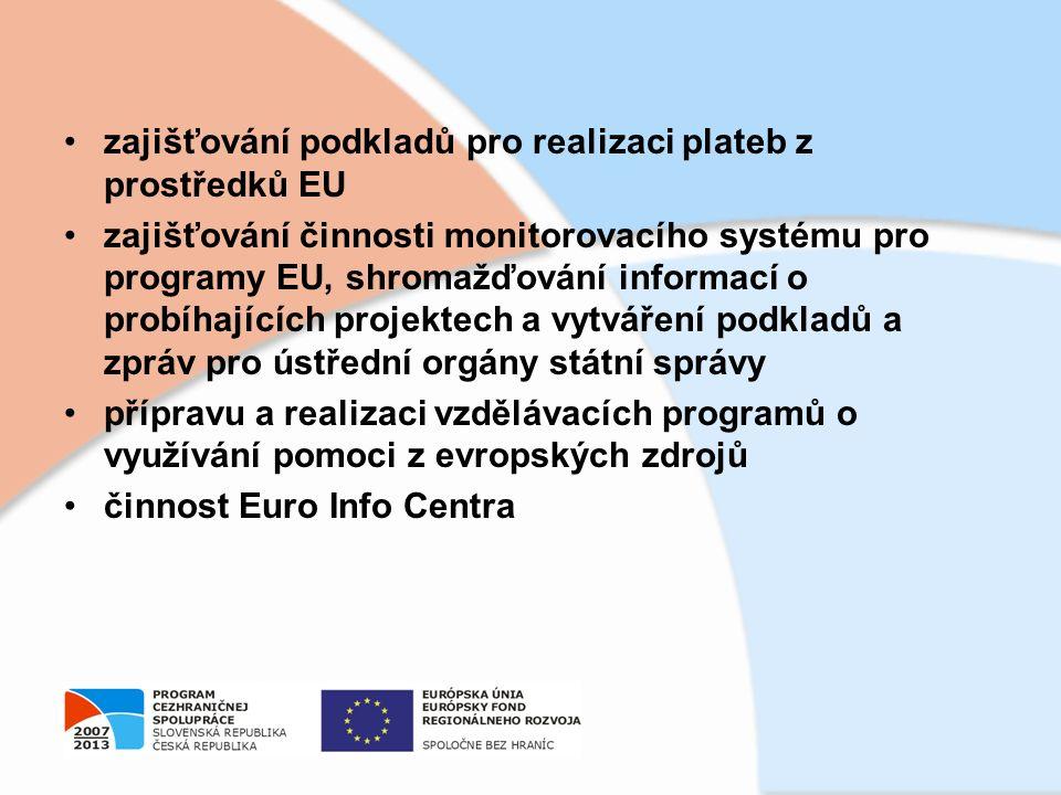 zajišťování podkladů pro realizaci plateb z prostředků EU zajišťování činnosti monitorovacího systému pro programy EU, shromažďování informací o probíhajících projektech a vytváření podkladů a zpráv pro ústřední orgány státní správy přípravu a realizaci vzdělávacích programů o využívání pomoci z evropských zdrojů činnost Euro Info Centra