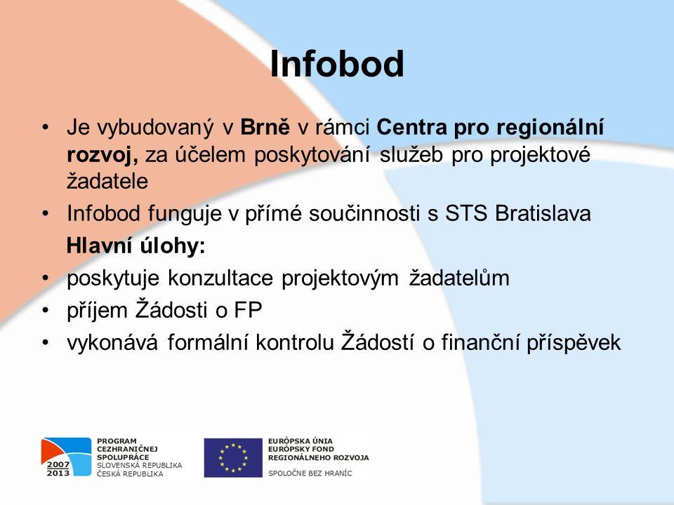 Infobod Je vybudovaný v Brně v rámci Centra pro regionální rozvoj, za účelem poskytování služeb pro projektové žadatele Infobod funguje v přímé součin