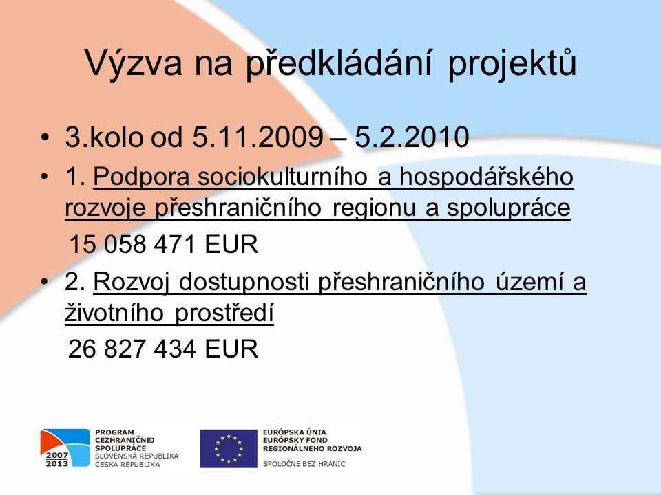 Výzva na předkládání projektů 3.kolo od 5.11.2009 – 5.2.2010 1. Podpora sociokulturního a hospodářského rozvoje přeshraničního regionu a spolupráce 15
