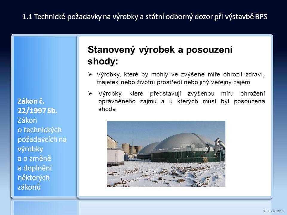 © IHAS 2011 1.1 Technické požadavky na výrobky a státní odborný dozor při výstavbě BPS Zákon č. 22/1997 Sb. Zákon o technických požadavcích na výrobky