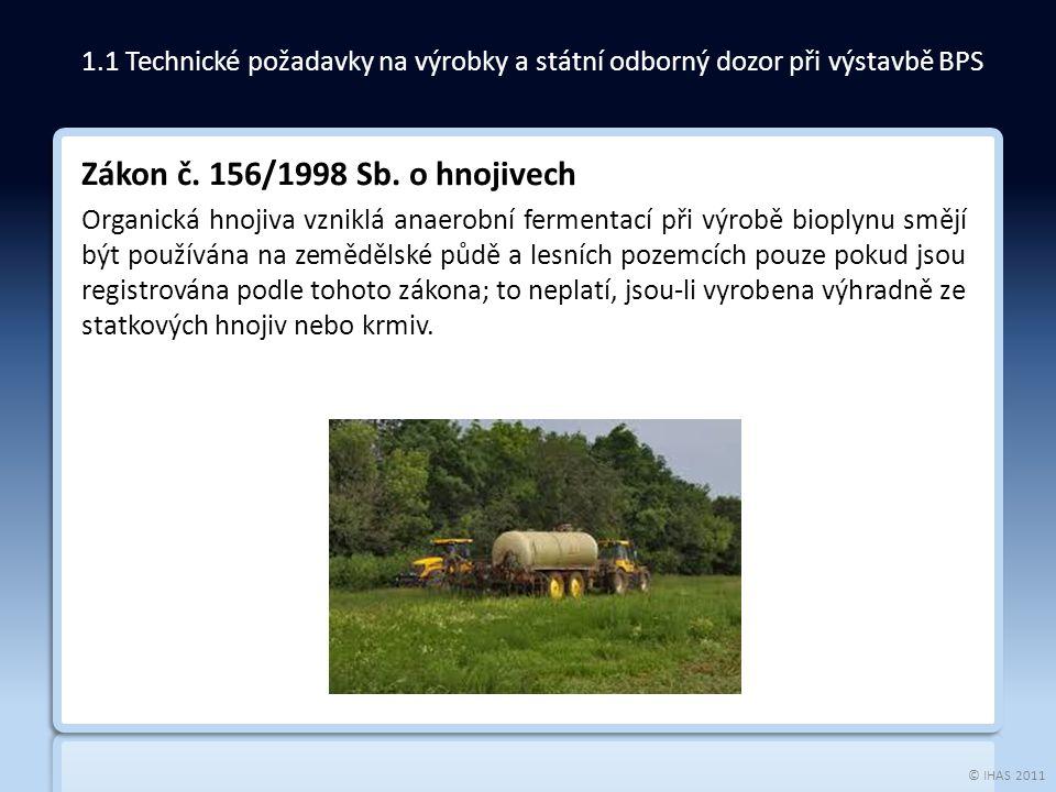 © IHAS 2011 Zákon č. 156/1998 Sb. o hnojivech Organická hnojiva vzniklá anaerobní fermentací při výrobě bioplynu smějí být používána na zemědělské půd