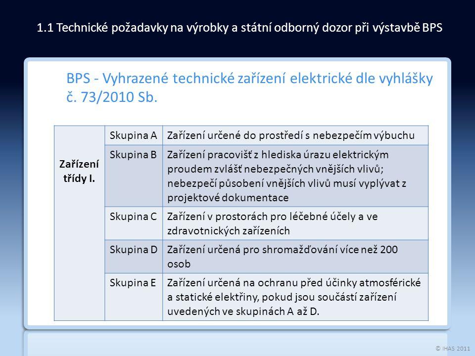 © IHAS 2011 BPS - Vyhrazené technické zařízení elektrické dle vyhlášky č. 73/2010 Sb. 1.1 Technické požadavky na výrobky a státní odborný dozor při vý