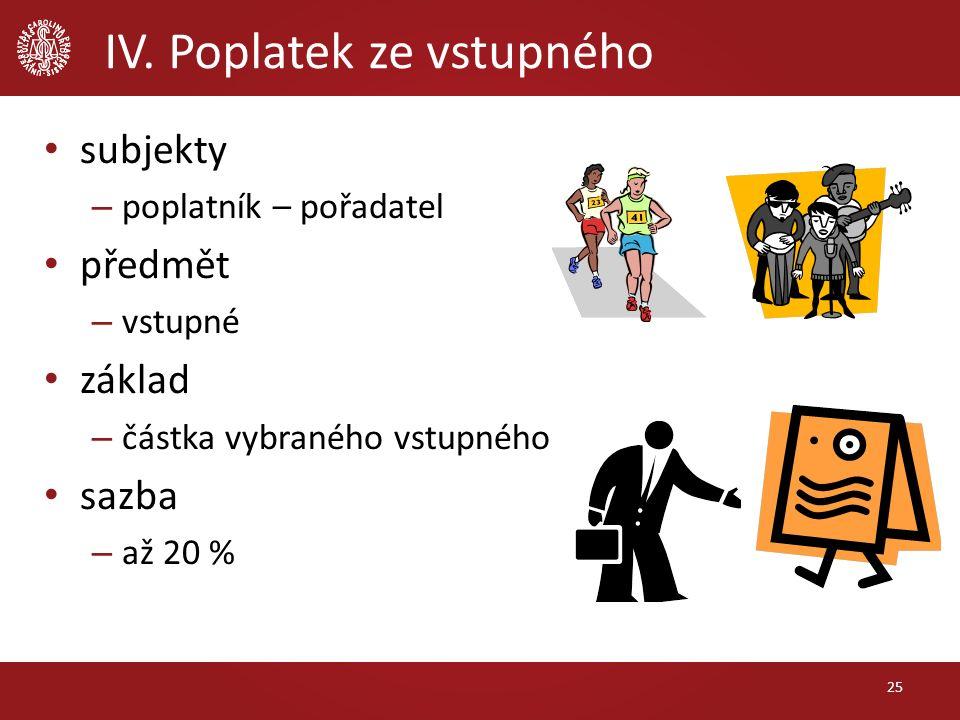 IV. Poplatek ze vstupného subjekty – poplatník – pořadatel předmět – vstupné základ – částka vybraného vstupného sazba – až 20 % 25
