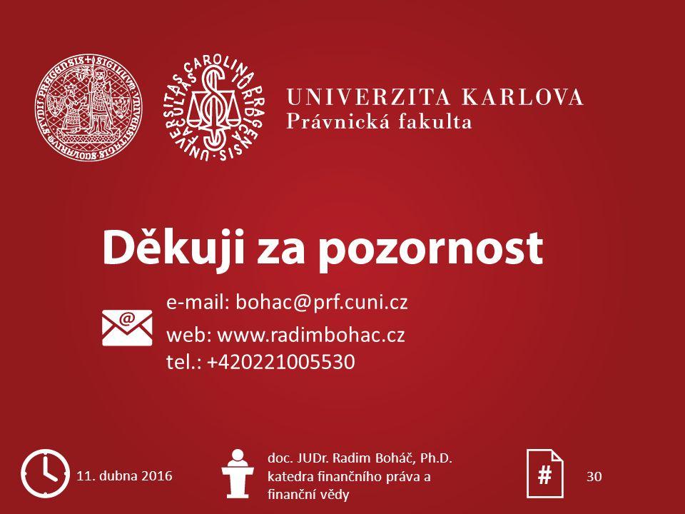 e-mail: bohac@prf.cuni.cz web: www.radimbohac.cz tel.: +420221005530 11. dubna 2016 doc. JUDr. Radim Boháč, Ph.D. katedra finančního práva a finanční