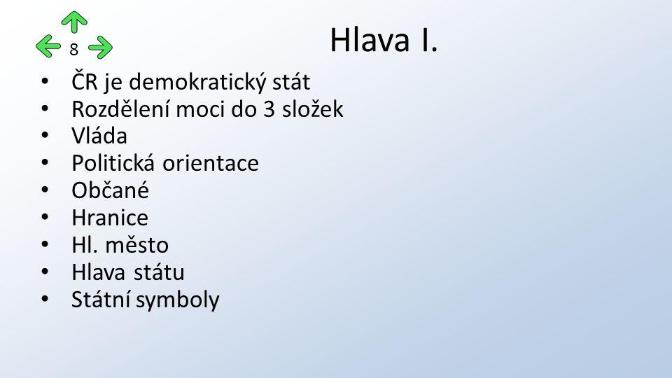 ČR je demokratický stát Rozdělení moci do 3 složek Vláda Politická orientace Občané Hranice Hl. město Hlava státu Státní symboly Hlava I. 8