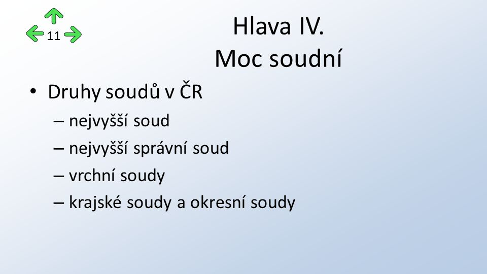 Druhy soudů v ČR – nejvyšší soud – nejvyšší správní soud – vrchní soudy – krajské soudy a okresní soudy Hlava IV. Moc soudní 11