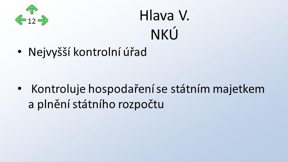 Nejvyšší kontrolní úřad Kontroluje hospodaření se státním majetkem a plnění státního rozpočtu Hlava V. NKÚ 12