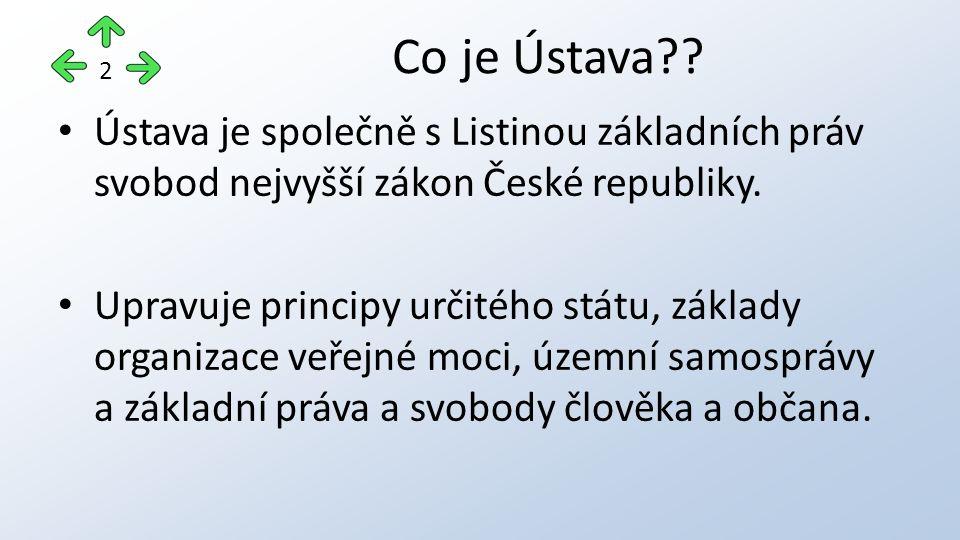 Ústava je společně s Listinou základních práv svobod nejvyšší zákon České republiky. Upravuje principy určitého státu, základy organizace veřejné moci