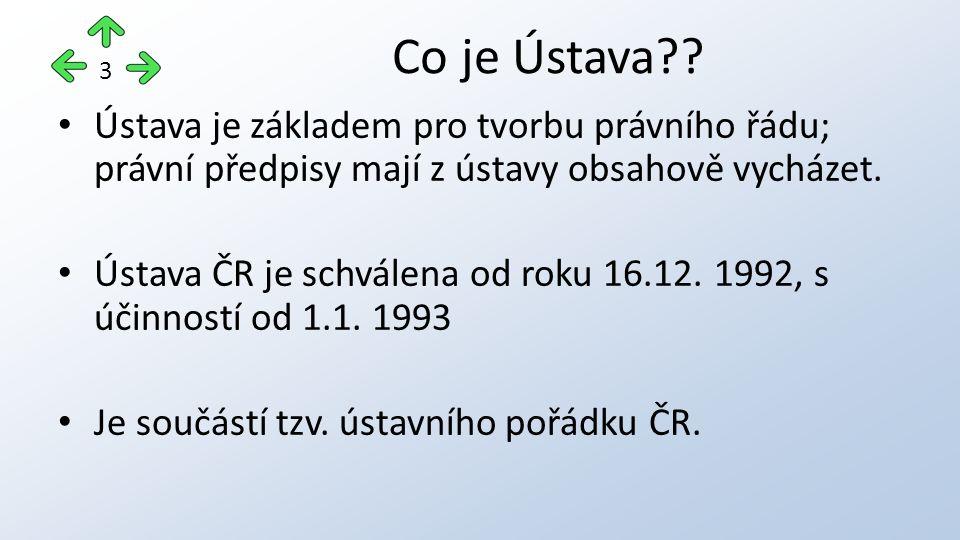 Ústava je základem pro tvorbu právního řádu; právní předpisy mají z ústavy obsahově vycházet. Ústava ČR je schválena od roku 16.12. 1992, s účinností
