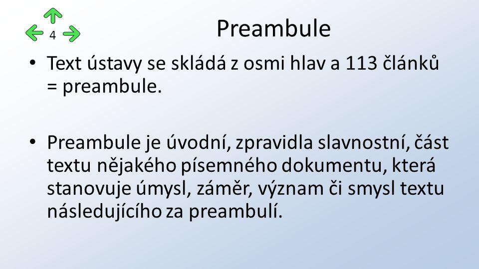 Text ústavy se skládá z osmi hlav a 113 článků = preambule. Preambule je úvodní, zpravidla slavnostní, část textu nějakého písemného dokumentu, která