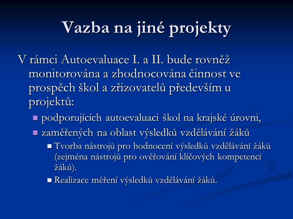 Vazba na jiné projekty V rámci Autoevaluace I. a II.