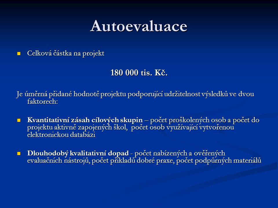 Autoevaluace Celková částka na projekt Celková částka na projekt 180 000 tis.