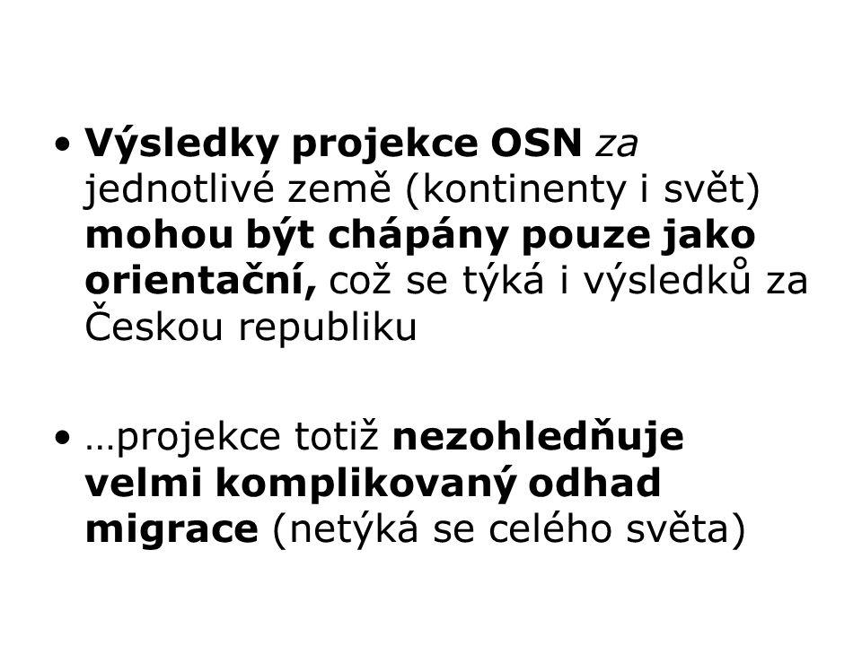 Výsledky projekce OSN za jednotlivé země (kontinenty i svět) mohou být chápány pouze jako orientační, což se týká i výsledků za Českou republiku …projekce totiž nezohledňuje velmi komplikovaný odhad migrace (netýká se celého světa)
