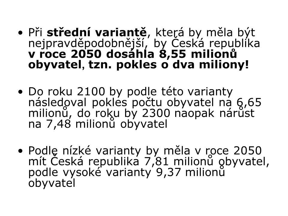 Při střední variantě, která by měla být nejpravděpodobnější, by Česká republika v roce 2050 dosáhla 8,55 milionů obyvatel, tzn.