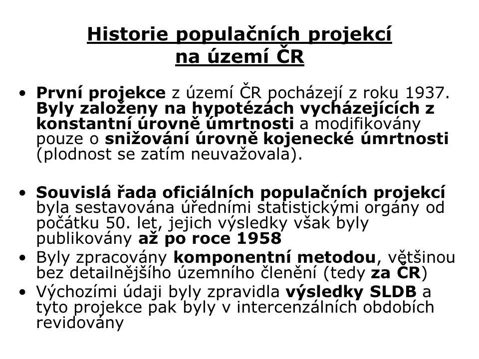 Historie populačních projekcí na území ČR První projekce z území ČR pocházejí z roku 1937.