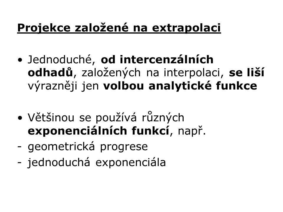 Projekce založené na extrapolaci Jednoduché, od intercenzálních odhadů, založených na interpolaci, se liší výrazněji jen volbou analytické funkce Většinou se používá různých exponenciálních funkcí, např.