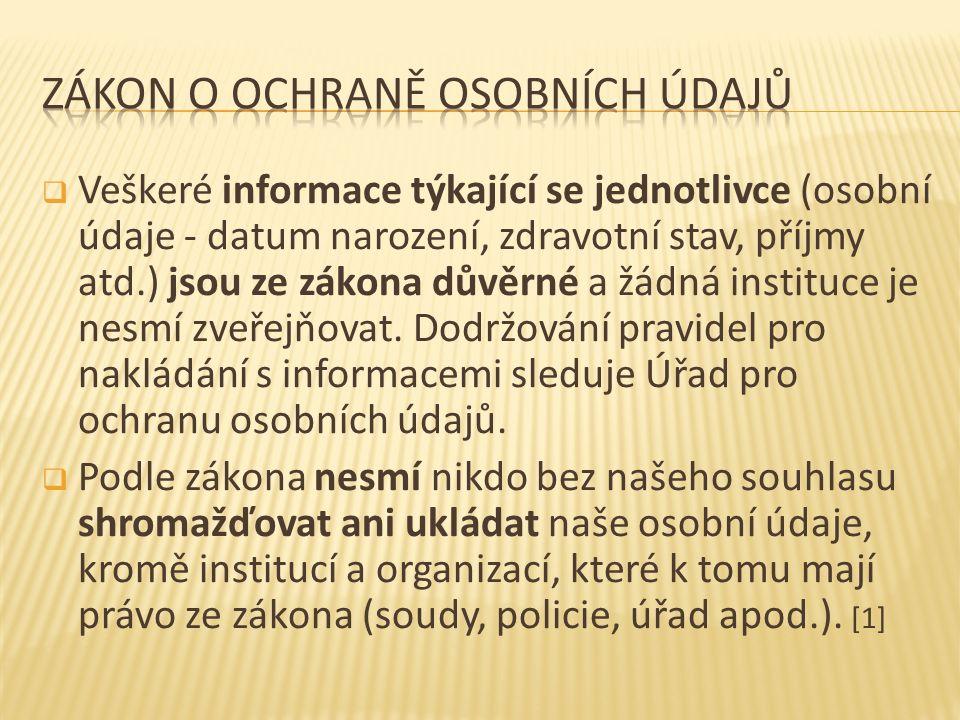  Veškeré informace týkající se jednotlivce (osobní údaje - datum narození, zdravotní stav, příjmy atd.) jsou ze zákona důvěrné a žádná instituce je nesmí zveřejňovat.