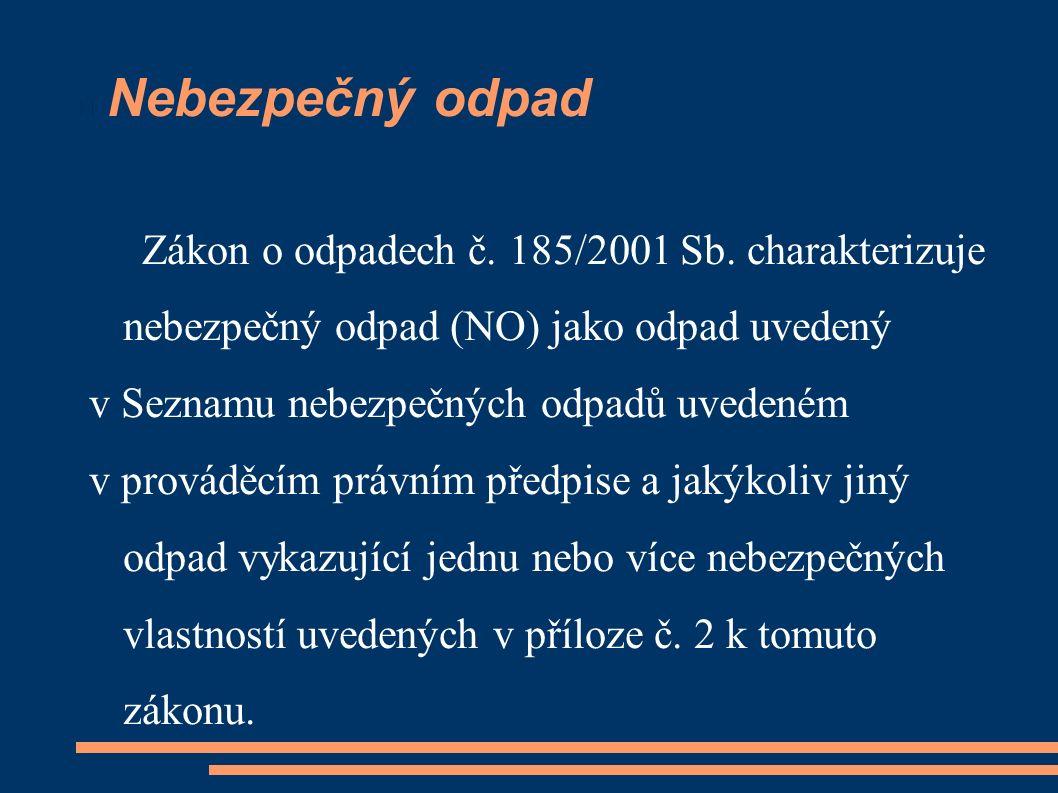 Nebezpečný odpad Zákon o odpadech č. 185/2001 Sb. charakterizuje nebezpečný odpad (NO) jako odpad uvedený v Seznamu nebezpečných odpadů uvedeném v pro