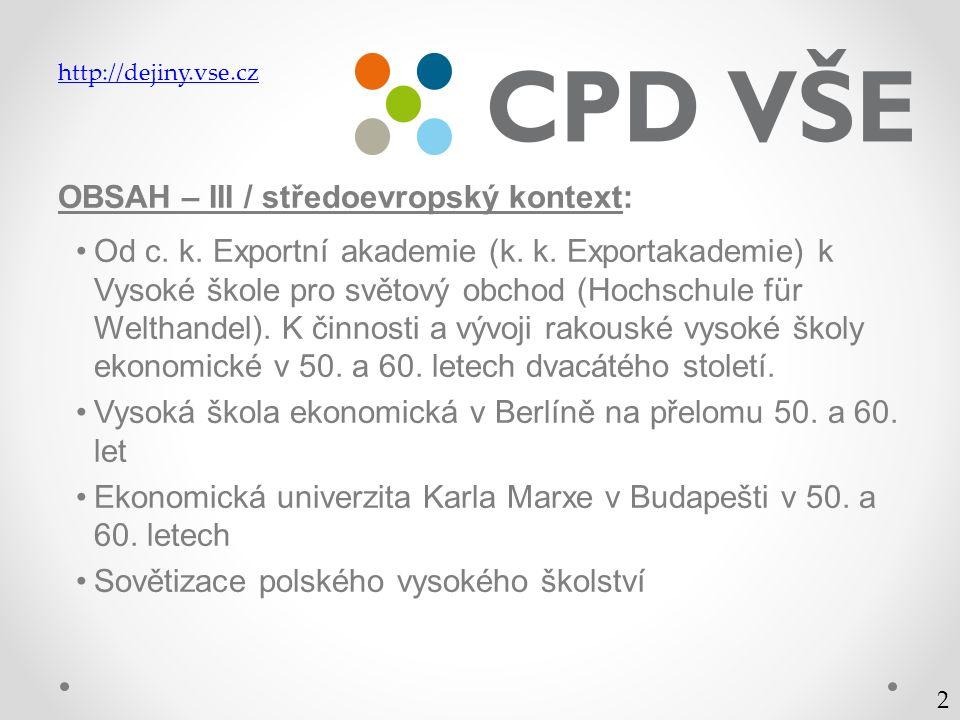 OBSAH – III / středoevropský kontext: Od c. k. Exportní akademie (k.