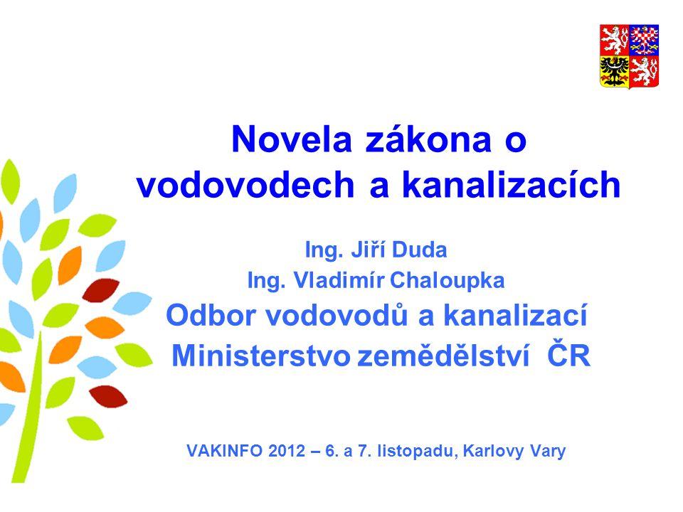 Novela zákona o vodovodech a kanalizacích Ing. Jiří Duda Ing.