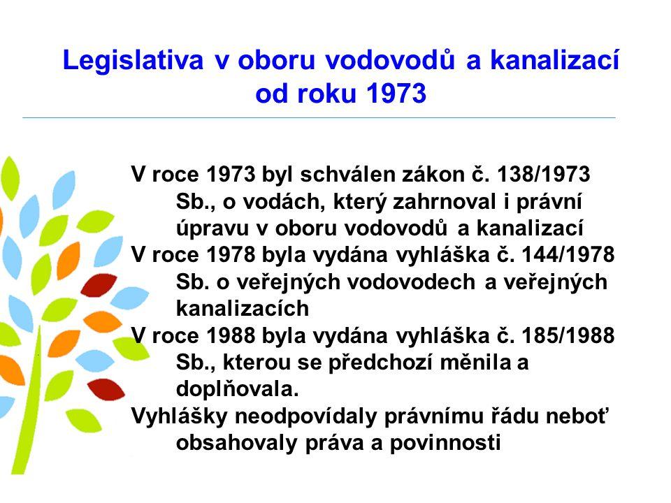 Legislativa v oboru vodovodů a kanalizací od roku 1973 V roce 1973 byl schválen zákon č.