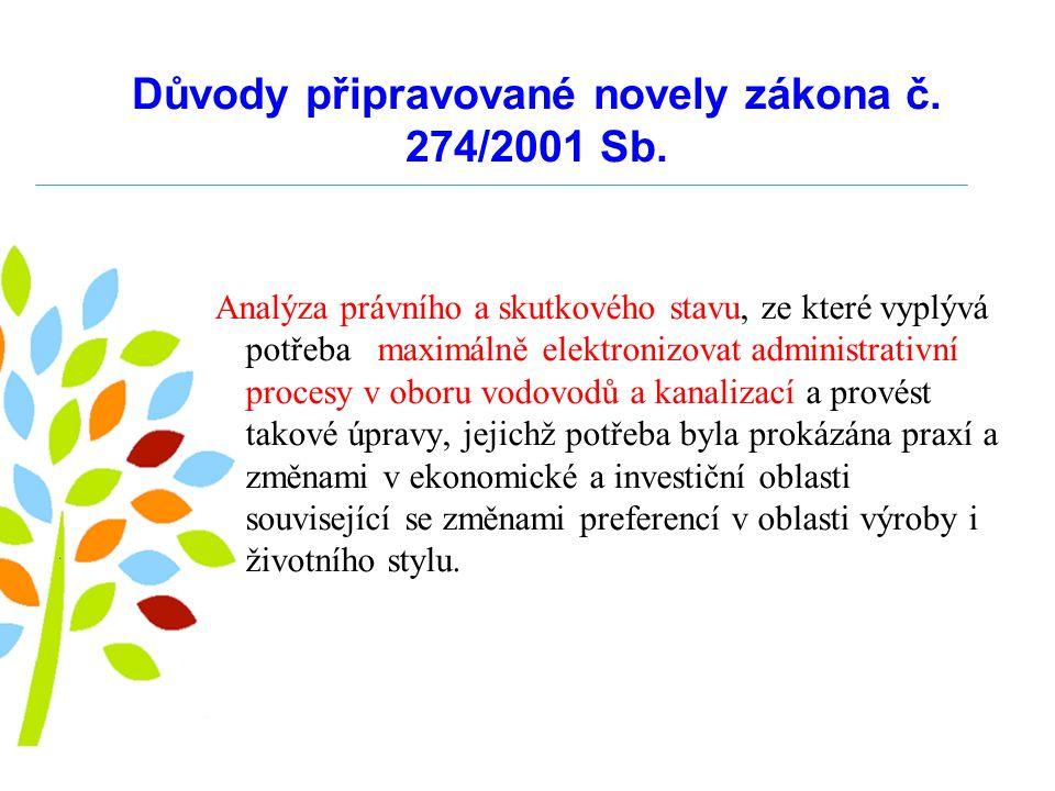 Důvody připravované novely zákona č.274/2001 Sb. Sjednocení pojmů nejen v rámci zákona např.