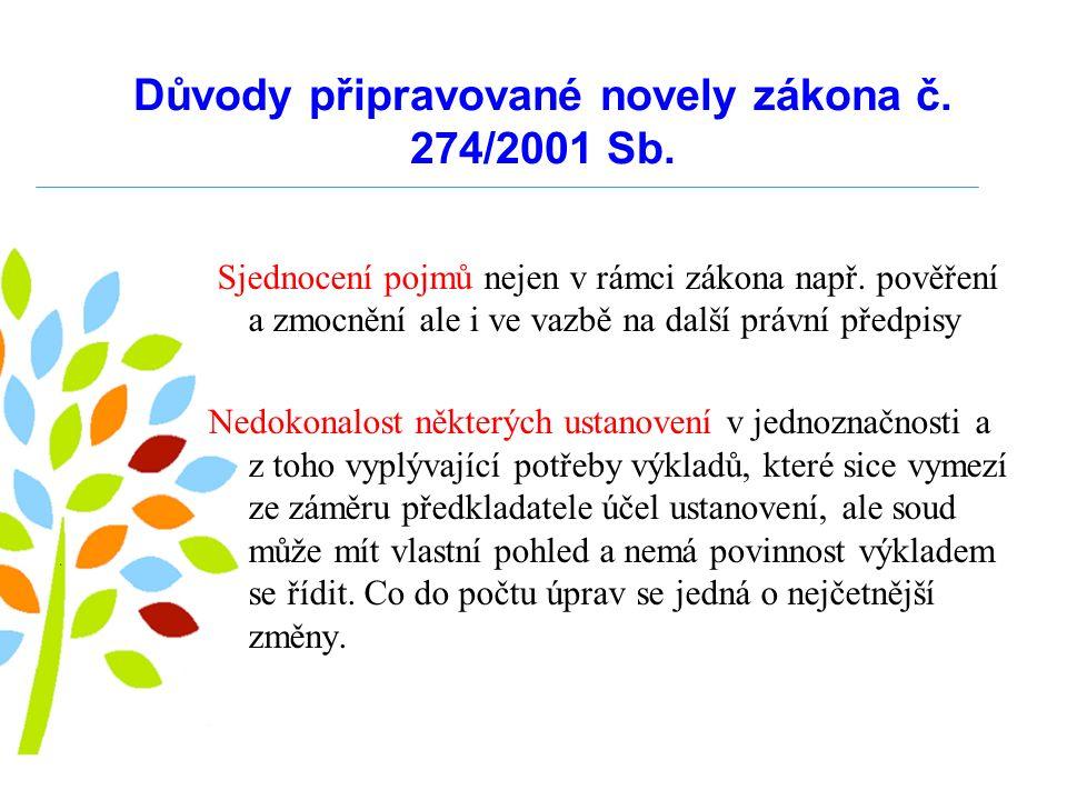 Důvody připravované novely zákona č. 274/2001 Sb.