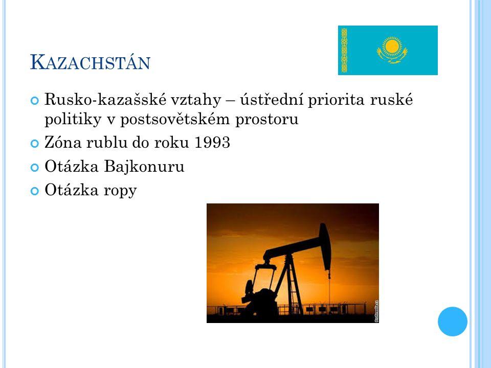 K AZACHSTÁN Rusko-kazašské vztahy – ústřední priorita ruské politiky v postsovětském prostoru Zóna rublu do roku 1993 Otázka Bajkonuru Otázka ropy