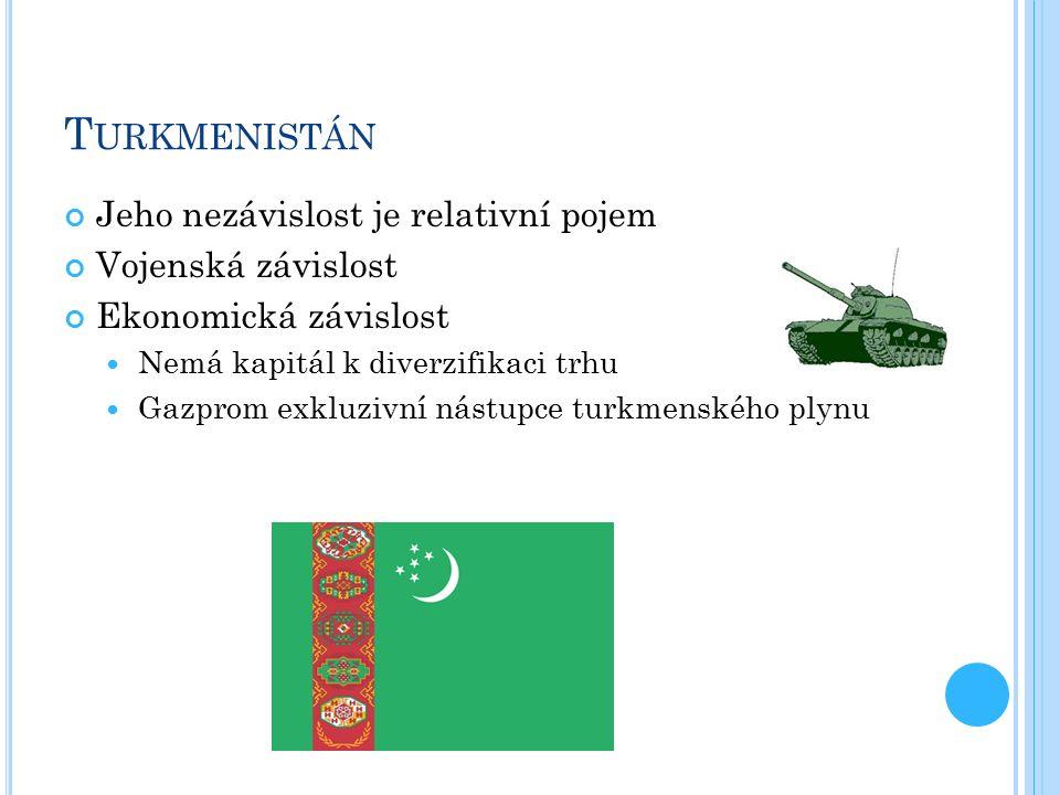 T URKMENISTÁN Jeho nezávislost je relativní pojem Vojenská závislost Ekonomická závislost Nemá kapitál k diverzifikaci trhu Gazprom exkluzivní nástupce turkmenského plynu