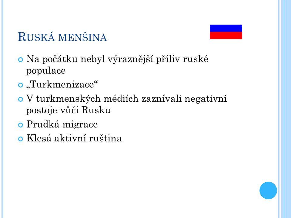 """R USKÁ MENŠINA Na počátku nebyl výraznější příliv ruské populace """"Turkmenizace V turkmenských médiích zaznívali negativní postoje vůči Rusku Prudká migrace Klesá aktivní ruština"""