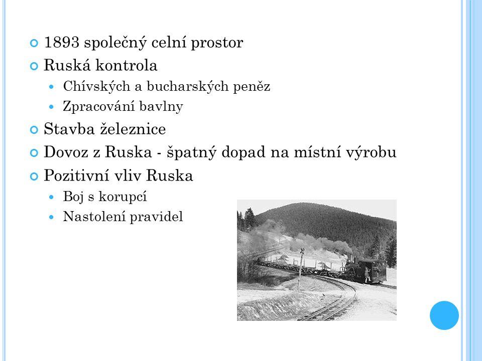 1893 společný celní prostor Ruská kontrola Chívských a bucharských peněz Zpracování bavlny Stavba železnice Dovoz z Ruska - špatný dopad na místní výr