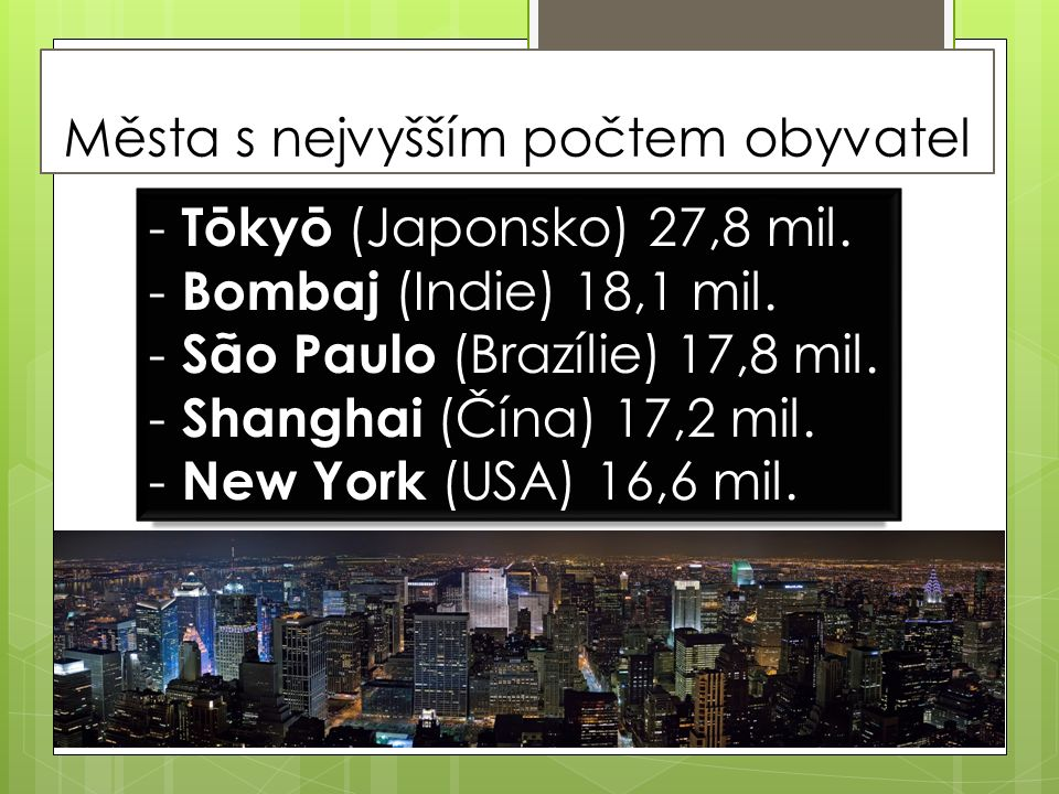 Města s nejvyšším počtem obyvatel - Tōkyō (Japonsko) 27,8 mil.