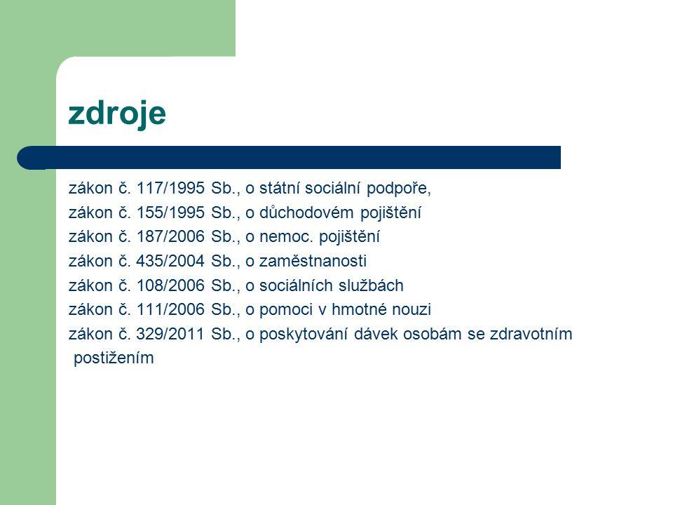 zdroje zákon č. 117/1995 Sb., o státní sociální podpoře, zákon č.