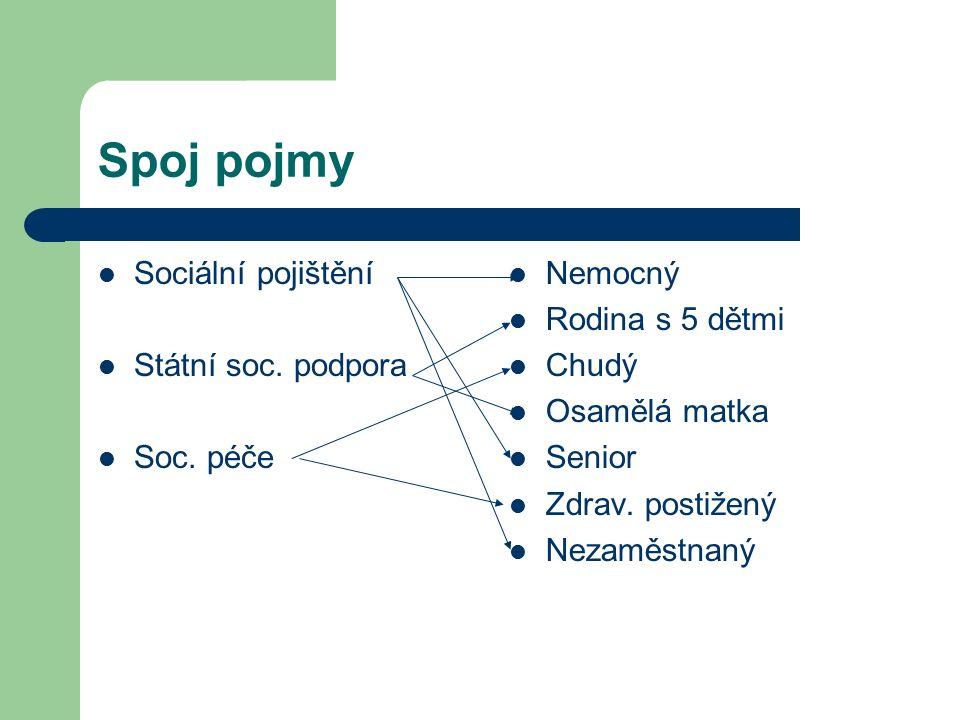 Spoj pojmy Sociální pojištění Státní soc. podpora Soc.