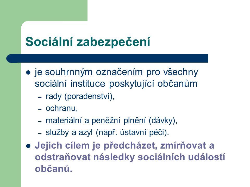 Sociální zabezpečení je souhrnným označením pro všechny sociální instituce poskytující občanům – rady (poradenství), – ochranu, – materiální a peněžní plnění (dávky), – služby a azyl (např.