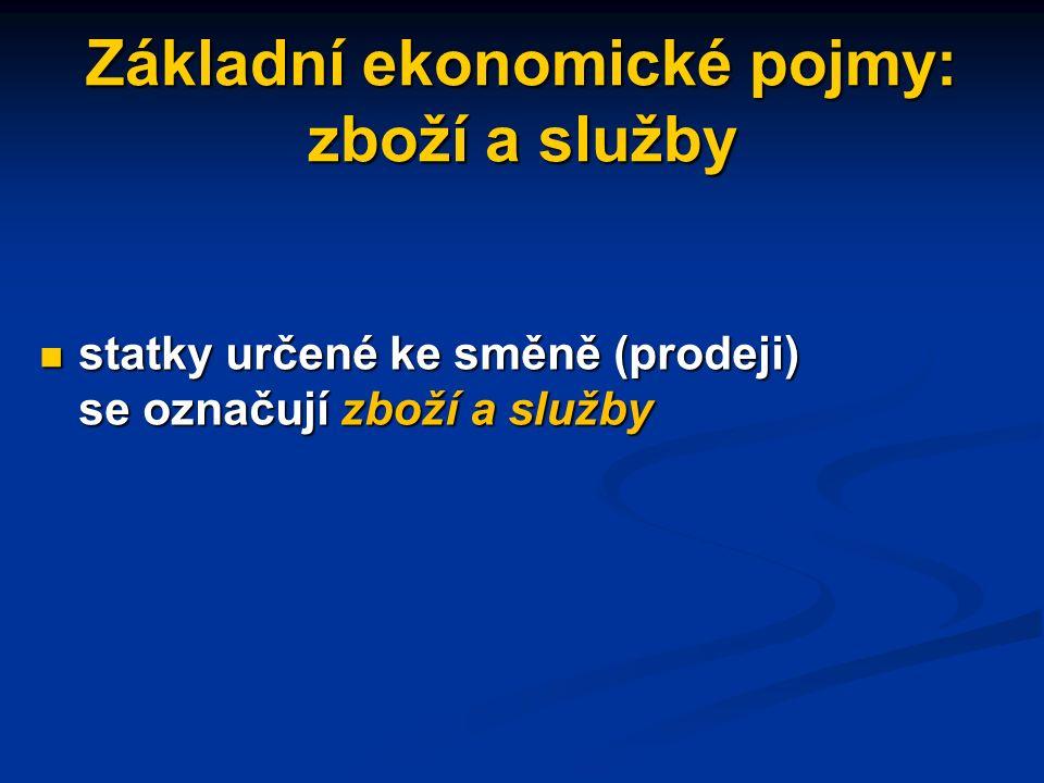 Základní ekonomické pojmy: ekonomické činnosti K základním ekonomickým činnostem patří K základním ekonomickým činnostem patří - výroba - výroba - rozdělování - rozdělování - směna - směna - spotřeba - spotřeba statků statků